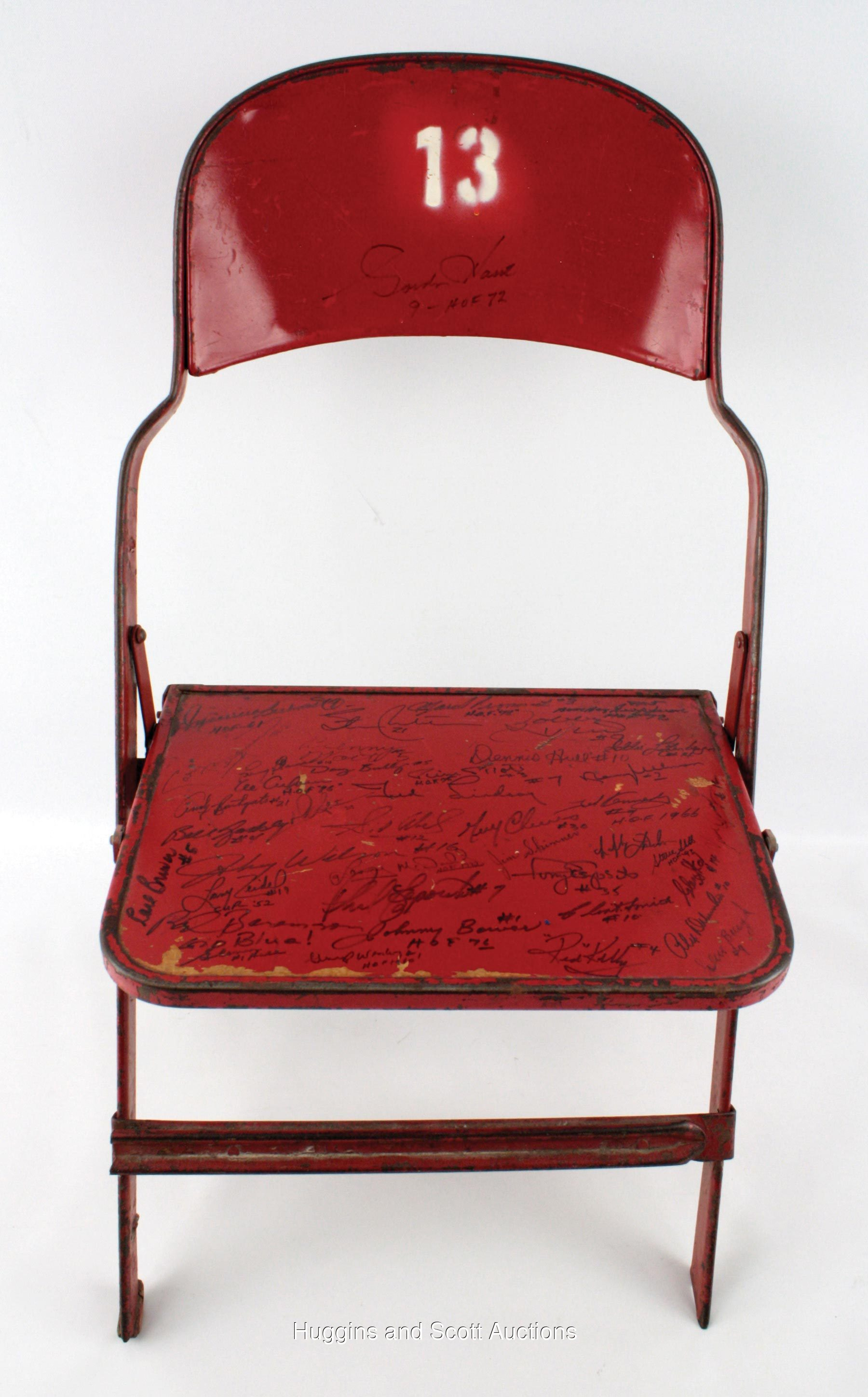 Groovy Detroit Olympia Folding Chair Signed By 41 Nhl Greats Alphanode Cool Chair Designs And Ideas Alphanodeonline